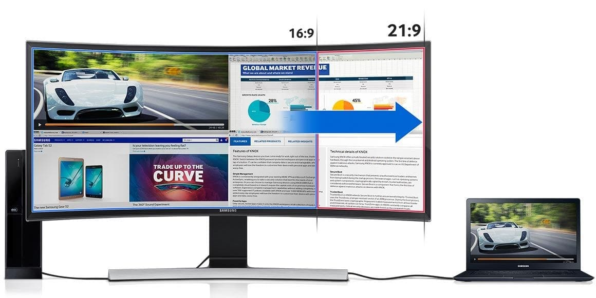 The 21:9 ultra-wide screen offers the ultimate efficiency in multitasking